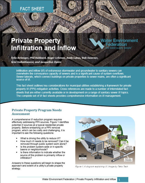 WEF Committee Releases Infiltration and Inflow Fact Sheet   WEF News Private Property Infiltration and Inflow Fact Sheet