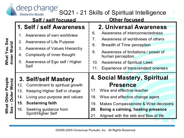 Five Days With Sq21 The Spiritual Intelligence Model