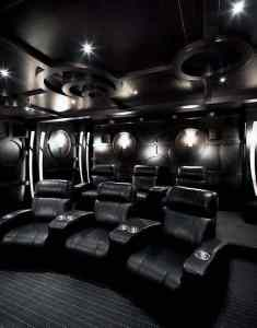 80 Home Theater Design Ideas For Men   Movie Room Retreats Black Color Themed Home Theater Designs