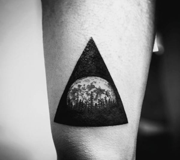 90 Triangle Tattoo Designs For Men   Manly Ink Ideas Dark Forest In Triangle Tattoo On Arms For Men