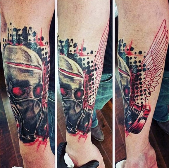 Gas Realistic Polka Trash Mask Tattoos
