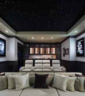 80 Home Theater Design Ideas For Men   Movie Room Retreats Incredible Home Theater Design Idea With Light Up Black Star Ceiling