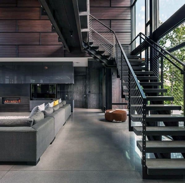 Top 70 Best Stair Railing Ideas Indoor Staircase Designs | Indoor Stair Railings Modern | Contemporary | Farmhouse | Rail | Glass | Aircraft Cable