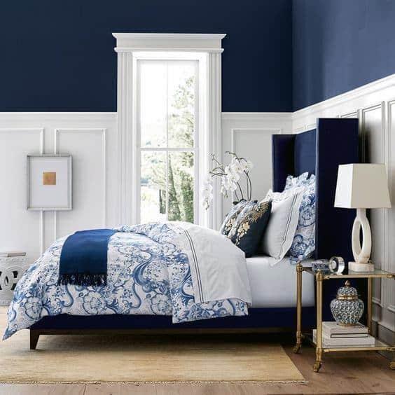 Top 50 Best Navy Blue Bedroom Design Ideas Calming Wall