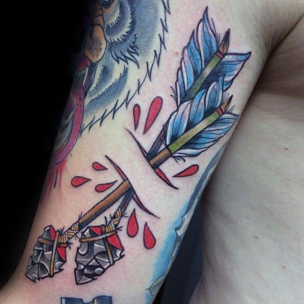 Double Bow And Arrow Tattoo