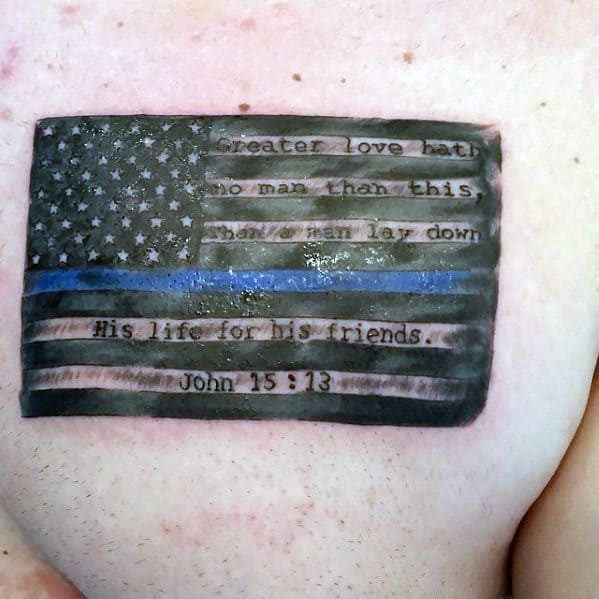 Thin Blue Line Sheepdog Paw Tattoo