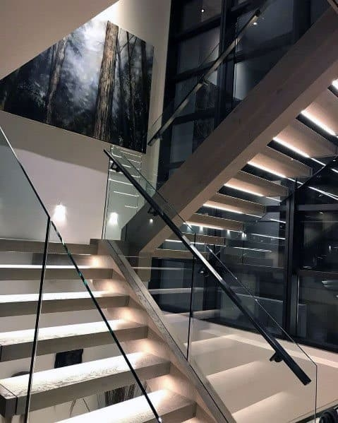 Top 70 Best Stair Railing Ideas Indoor Staircase Designs   Glass And Chrome Banisters   Designer   Wooden Glass   Frosted Glass   Oak   Contemporary