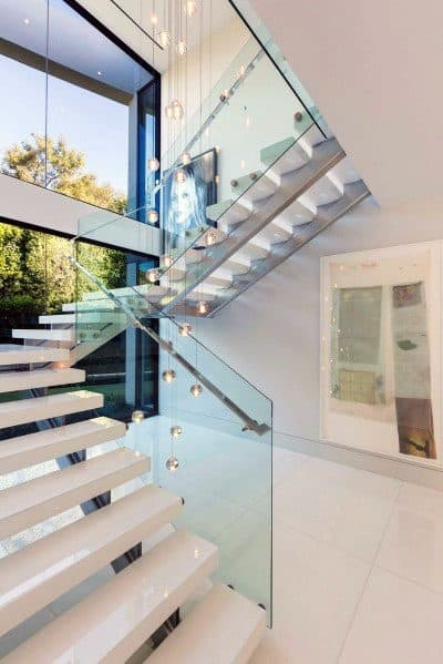 Top 70 Best Stair Railing Ideas Indoor Staircase Designs | Stair Railing Glass Panel | Tempered Glass | Wood | Stainless Steel Railing Systems | Base Shoe | Aluminum