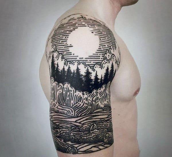 Tattoo Sleeve Forest Half Mountain