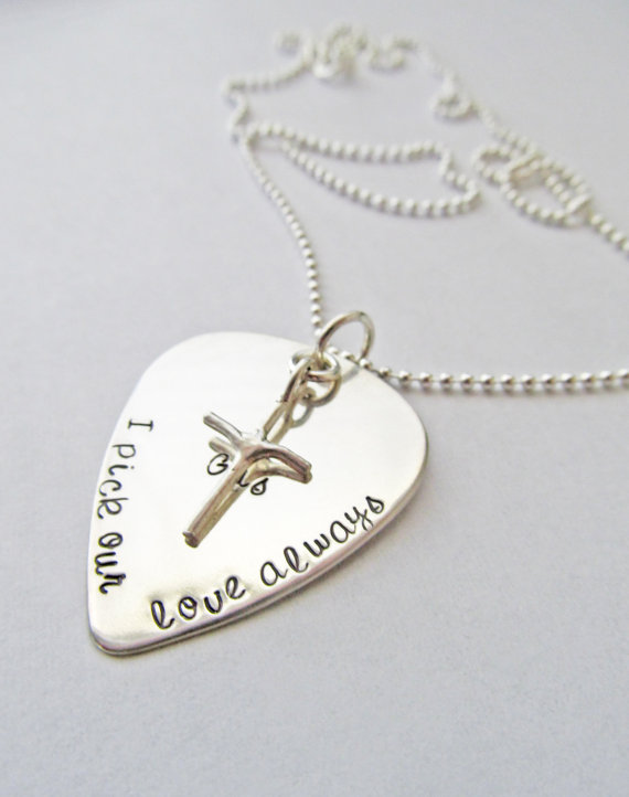 Personalized Guitar Pick Necklace Men