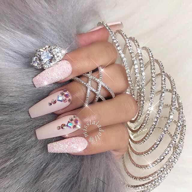 Disenos Con Diamantes Unas Largas De