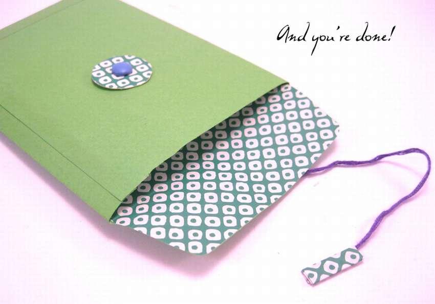 как сделать конверт с завязкой
