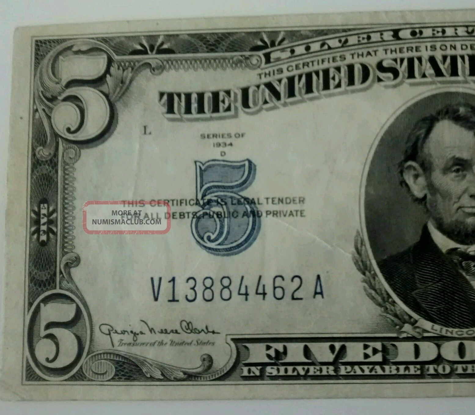 Five Dollar Silver Certificate Value Of 1963