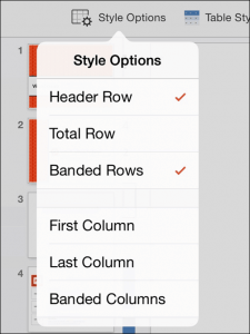 PowerPoint for iPad Table Tab #1 Table Styles Options
