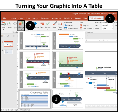 Office Timeline Gantt Chart Tricks 5.1 - turning a graphic into a table