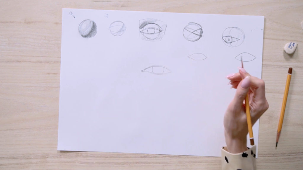 How to draw eyes with a pencil Phaood - Stage 5 - Photo