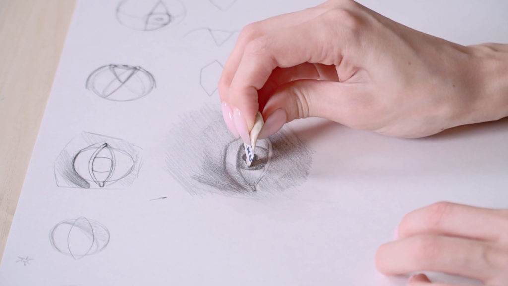How to draw eyes with a pencil Phased - Stage 14 - Photo