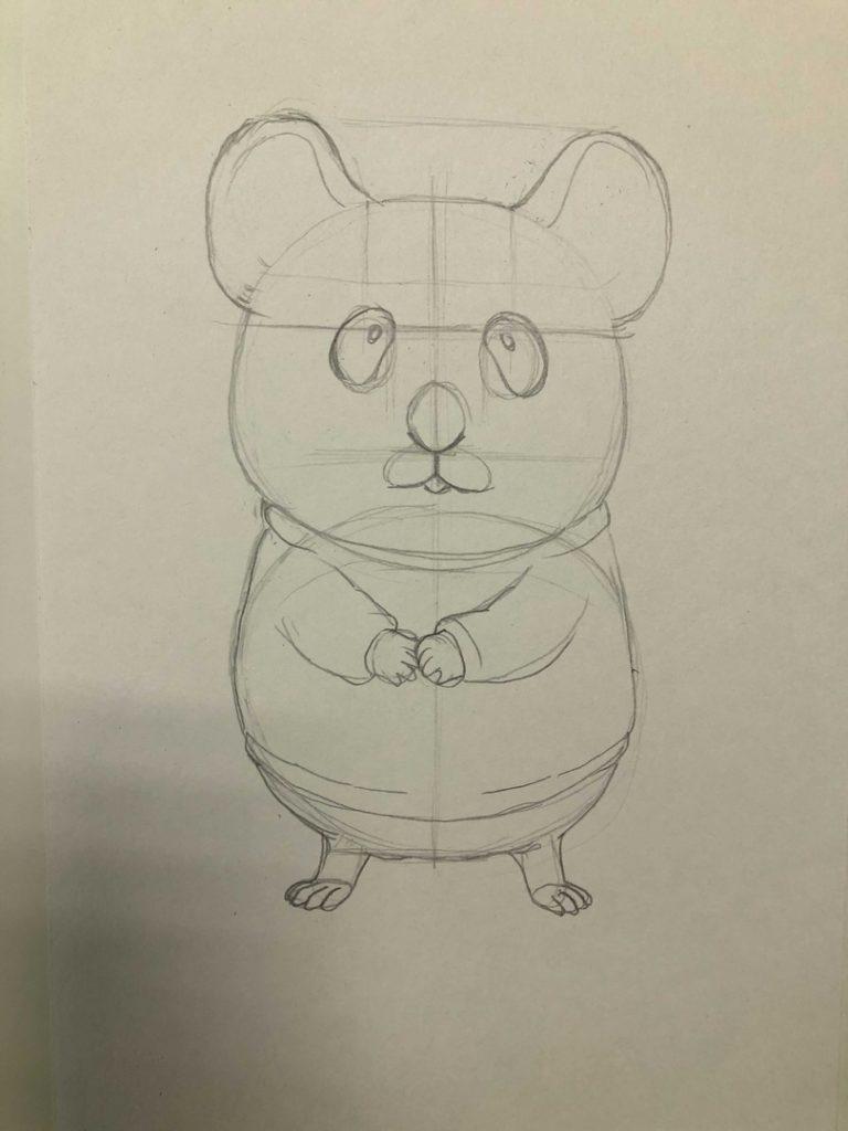 Comment dessiner un hamster crayon - Dessin animé 1 Stade - Photo