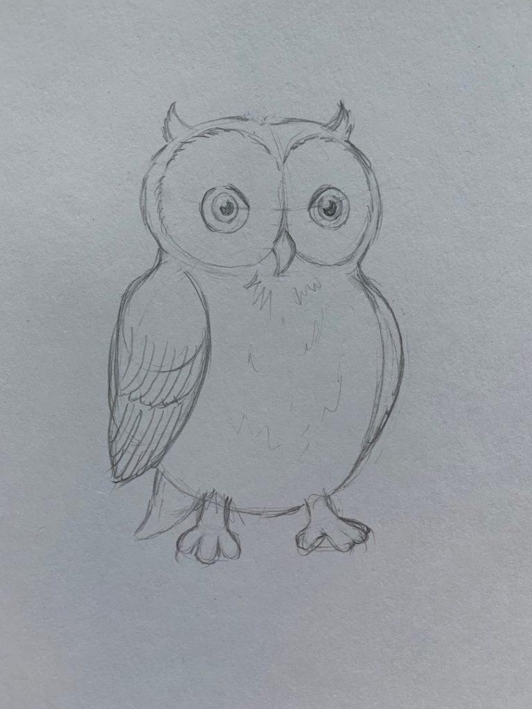 Как нарисовать карандашом сову - простая сова 3 этап - фото