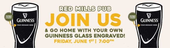 Personalized Guinness Glass Event Red Mills Pub - Oak ...