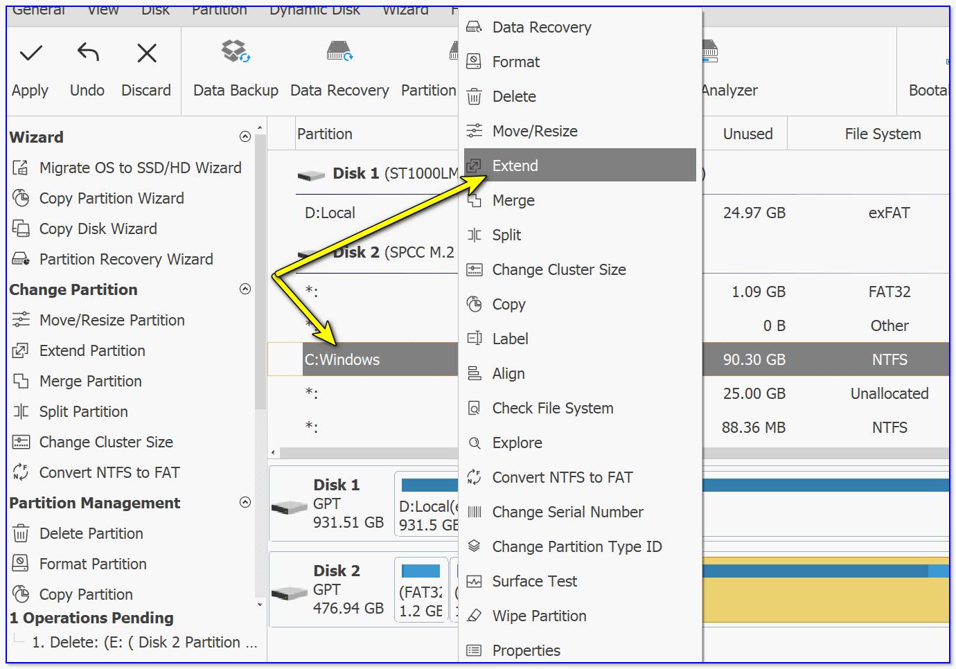 Förlänga - expandera skivan från operativsystemet