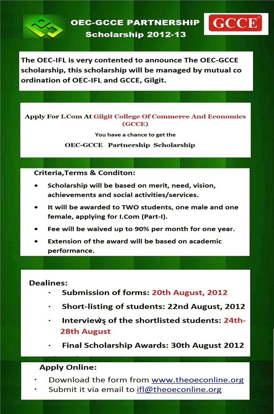 IFL announces OEC-GCCE Partnership Scholarship 2012-13