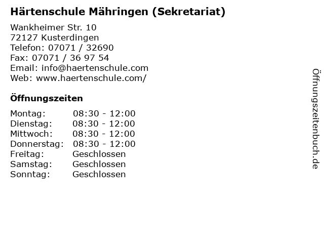 """ᐅ Öffnungszeiten """"Härtenschule Mähringen (Sekretariat"""