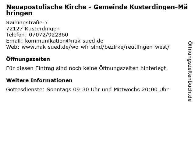 """ᐅ Öffnungszeiten """"Neuapostolische Kirche - Gemeinde Kusterdingen"""