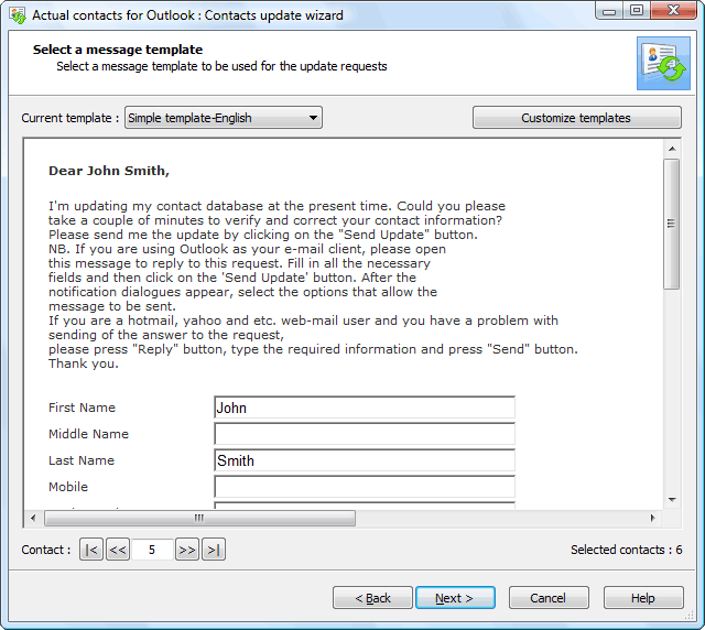 Form Template Contact Information Update