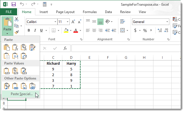 Excel бағдарламасындағы транспозиция