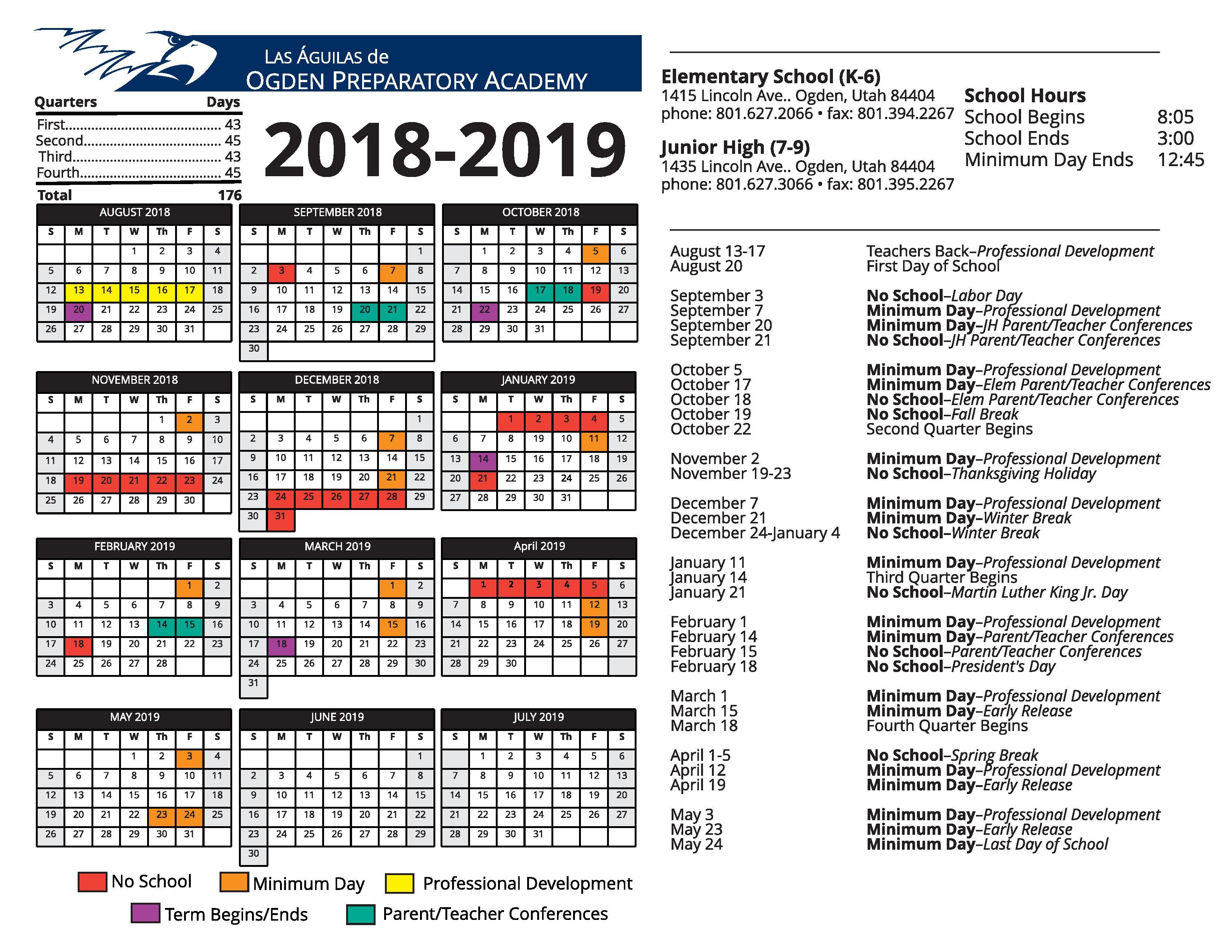 Elementary School Calendar