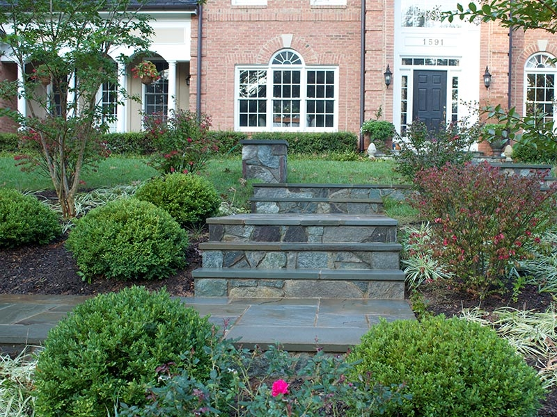 Front Yard Landscape Design In Vienna Virginia Va Home | Front Yard Stairs Design | Entry | Uphill | Step | Residential | Main Door Stair