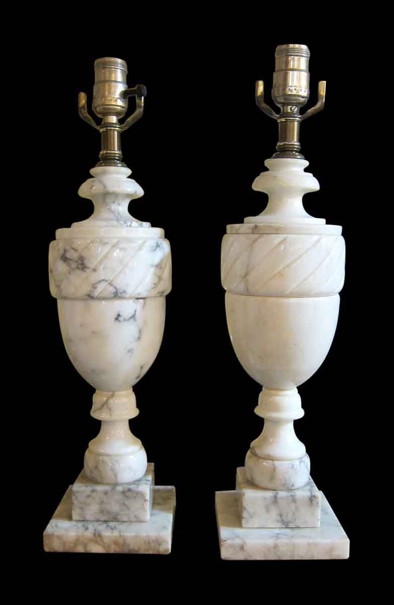Pair Of Neo Classical Alabaster Urn Lamps Olde Good Things