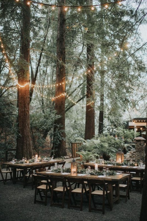25 Whimsical Woodsy Forest Wedding Reception Ideas For