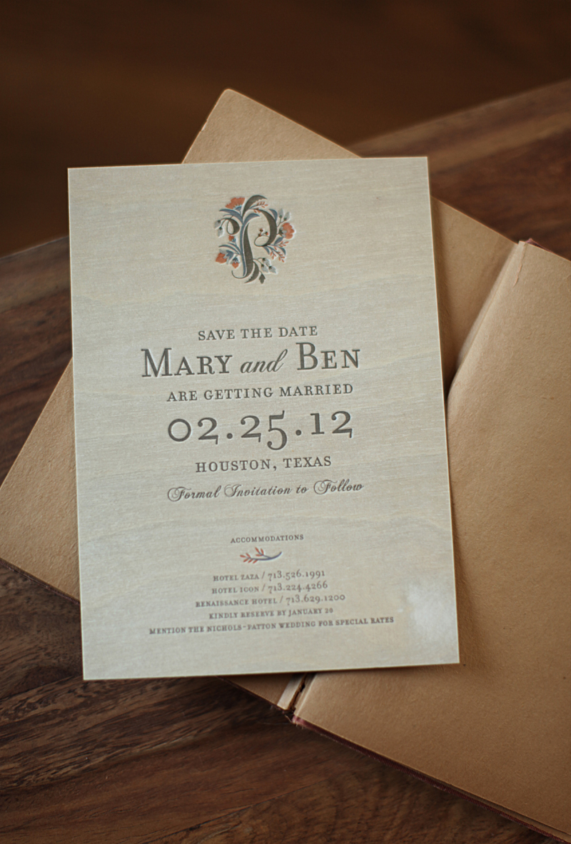 Rustic Letterpress Wedding Invitations