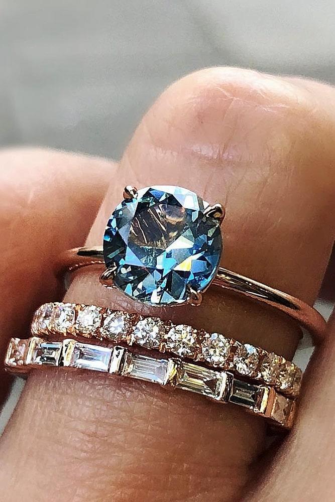 Colored Gemstone Wedding Ring Sets
