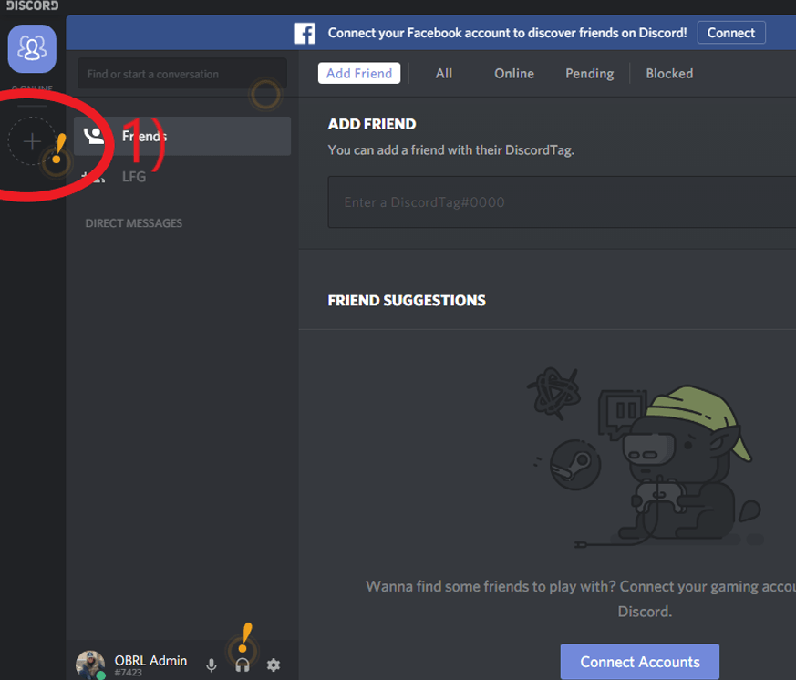 Add Old Bastard Racing League Server To Discord Instructions   Old     Click the    Plus Button     Circled in Red  To Add The Old Bastards Racing  League Server To Your Current Install of Discord