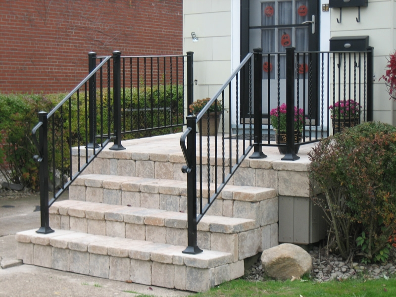 Aluminum Railings Old Dutchman S Wrought Iron Inc | Metal Railing For Steps Outside | Front Porch | Deck Stair | Aluminum | Deck Railing | Staircase