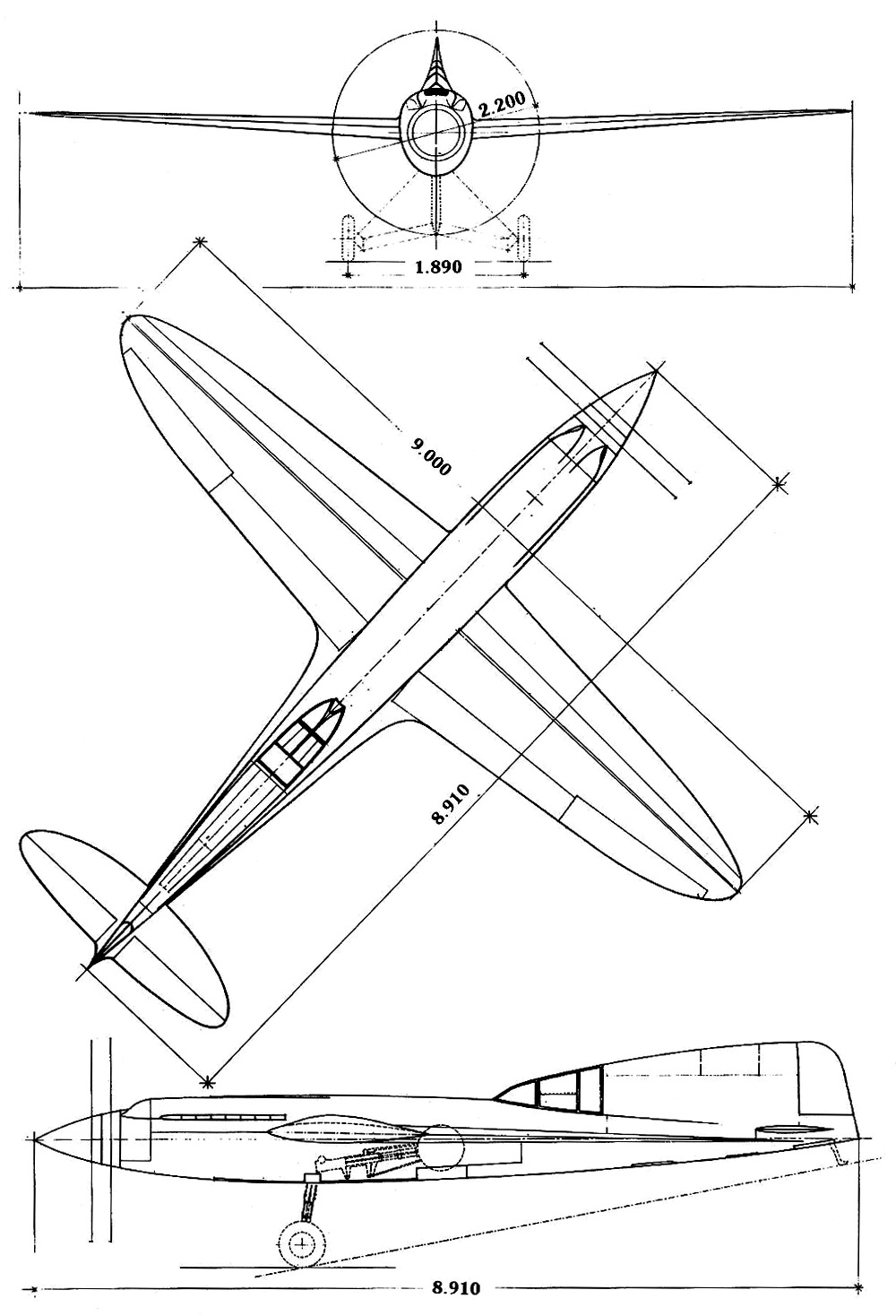 A three view drawing of the cmasa cs 15 racer note the thin wings minimal frontal area and main gear retraction