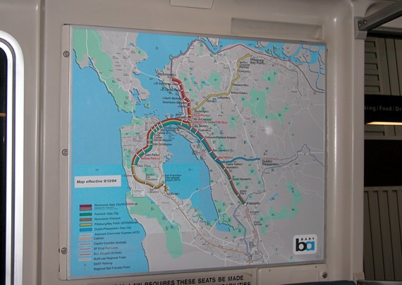 System Map BART maps  prominently displayed in all cars and stations  color code the  five lines  Despite this association  the actual routes are identified by