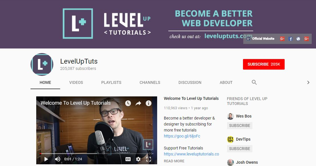 Level up Tuts - Best YouTube Channels for Web Developer