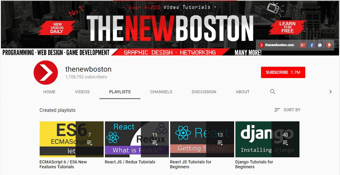 The New Boston - Best YouTube Channels for Web Developer