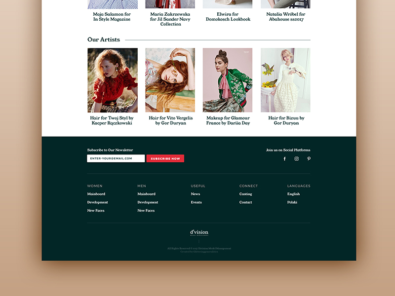 Division Model Management Homepage Redesign