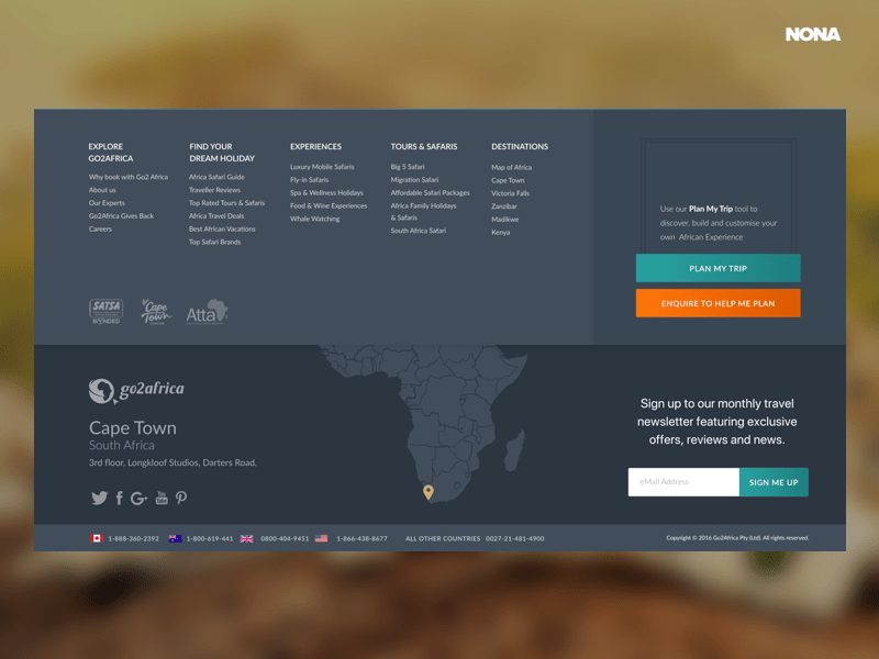 Footer for Go2Africa