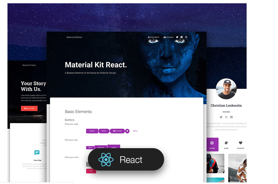 Material Kit React - React UI Component Libraries and Framework