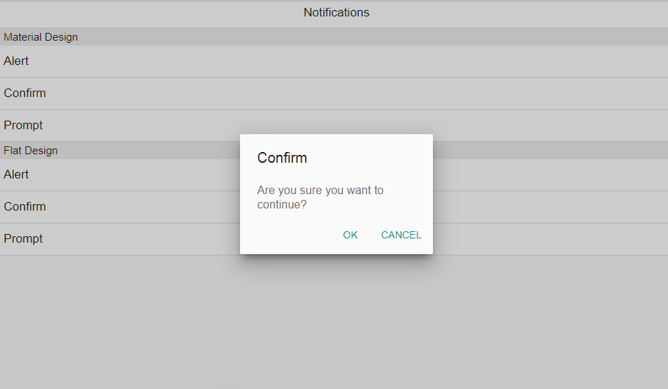 Alert, confirm and prompt dialogs