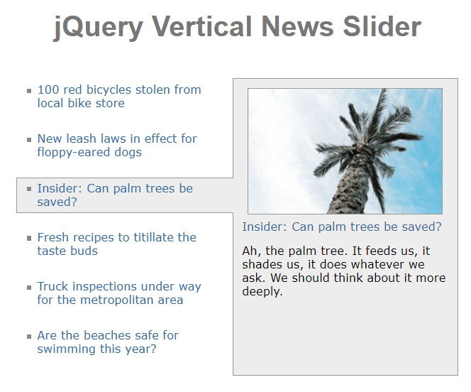 jQuery Vertical News Slider