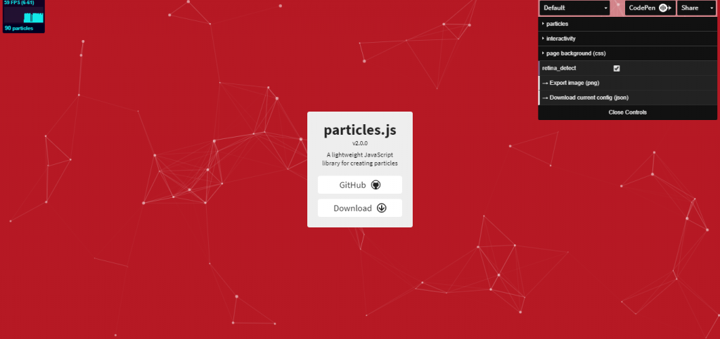 JavaScript library for creating particles