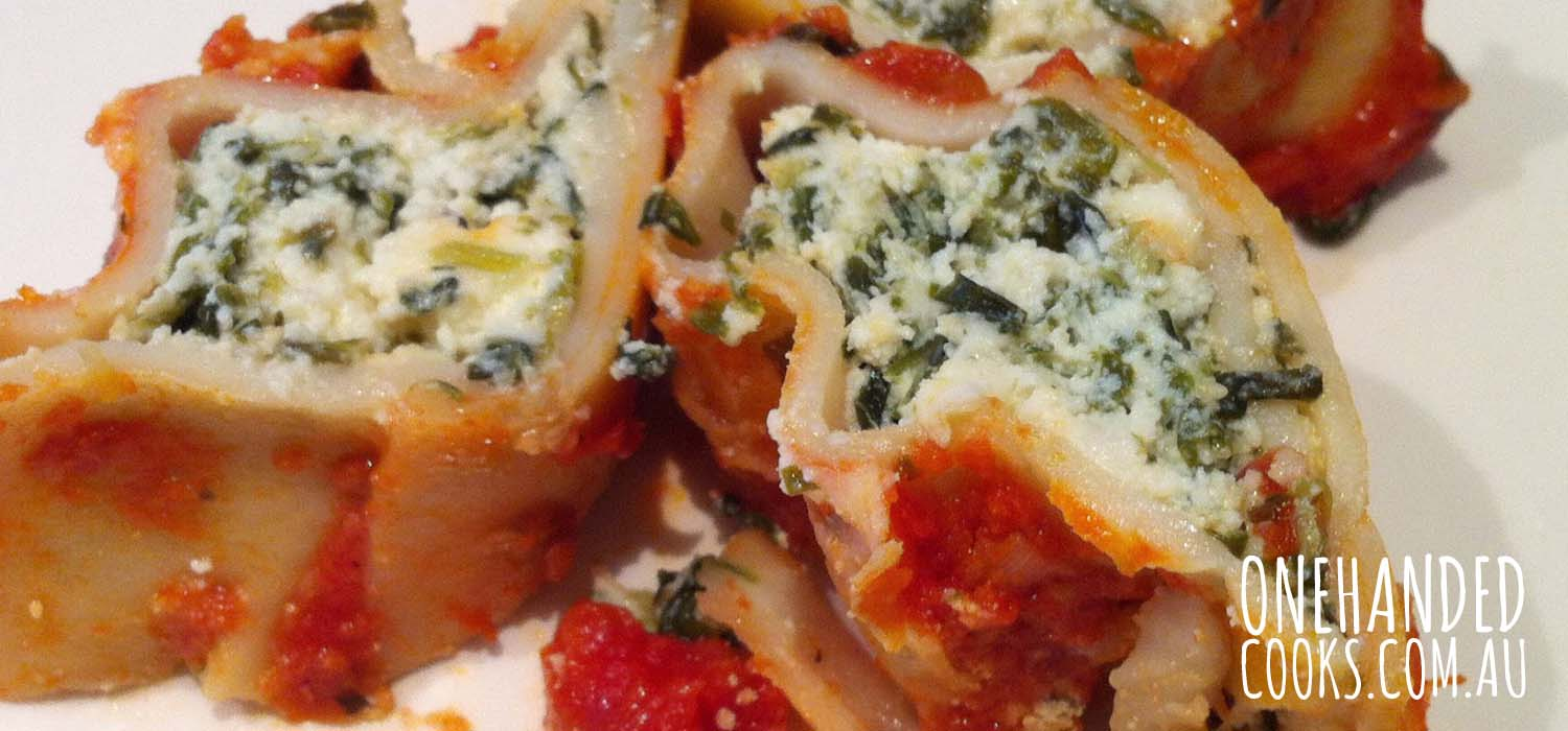 Spinach And Ricotta Cannelloni One Handed Cooks