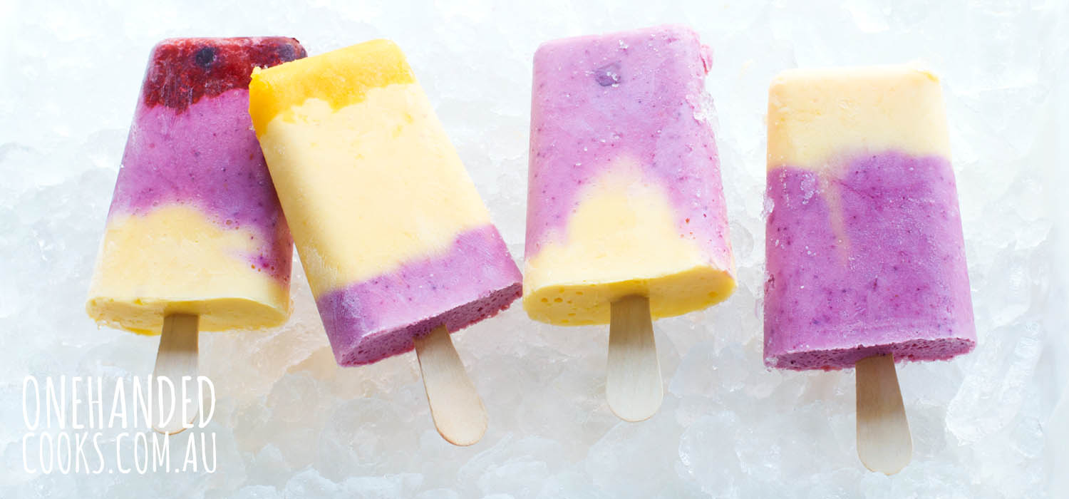 Mango And Mixed Berry Frozen Yoghurt Sticks One Handed Cooks